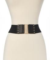 Betsey Johnson Black & Rhinestone Stripe Stretch Belt