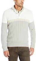 Nautica Men's Color Block Button Mock Sweater
