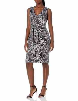 Kasper Women's Sleeveless V-Neck Leopard Printed Sheath Dress
