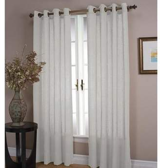 Plow & Hearth Double Width Sheer Linen Single Window Curtain Panel With Grommets, White