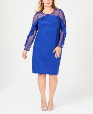 R & M Richards Plus Size Illusion Ruffle Sheath Dress