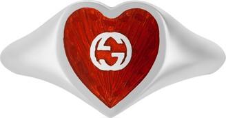 Gucci Ring with Interlocking G enamel heart