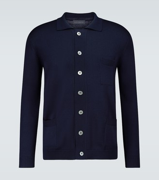 Wool long-sleeved buttoned cardigan