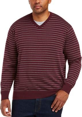 Amazon Essentials Men's Big and Tall Big & Tall V-Neck Stripe Sweater