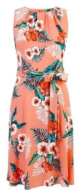 Dorothy Perkins Womens **Billie & Blossom Coral Floral Printed Fit And Flare Dress