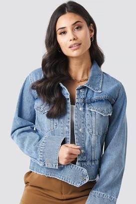 NA-KD Cropped Big Pocket Denim Jacket Blue