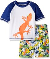 iXtreme Little Boys Swimwear Lizard Rashguard Top Hibiscus Board Swim Trunk Set