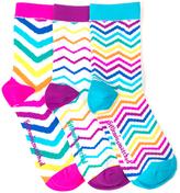 LittleMissMatched Hot Pink & Blue Chevron Ankle Socks Set