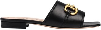 Gucci Horsebit Leather Dava Sandals Black