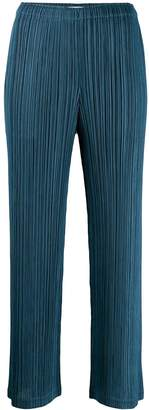 Pleats Please Issey Miyake micro-pleated straight trousers