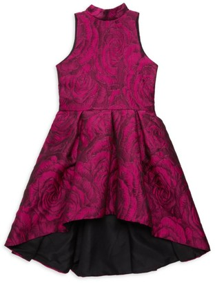 Zoe Girl's Magenta Blooms Halter Dress