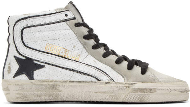 Golden Goose White and Grey Slide Sneakers