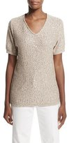 Escada Short-Sleeve Embellished Top, Sand Dune