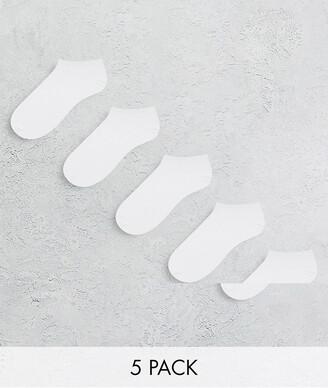 Jack and Jones sneaker socks 5 pack in white