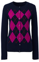Classic Women's Cashmere Cardigan Sweater-Radiant Navy Argyle