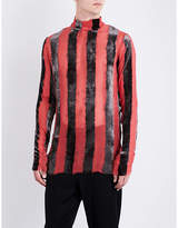 Ann Demeulemeester Striped Velvet And Silk-blend Top