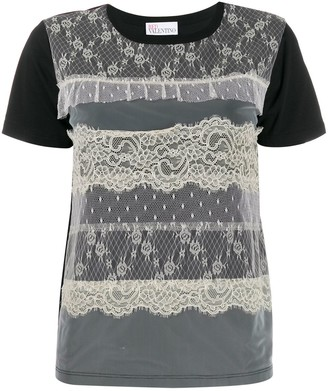 RED Valentino lace-overlay T-shirt