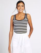 Marks and Spencer Pure Cotton Striped Scoop Neck Vest Top