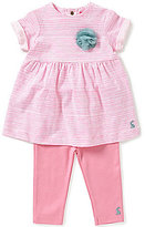 Joules Baby Girls Newborn-12 Months Seren Striped Floral-Applique Dress & Leggings Set