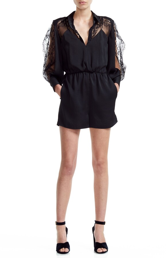 Maje Ines Lace Sleeve Romper