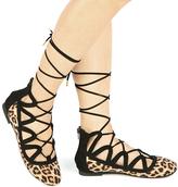 Qupid Camel Leopard Lace-Up Ballet Flat