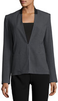 T Tahari Farley Collarless Blazer Jacket, Charcoal Heather