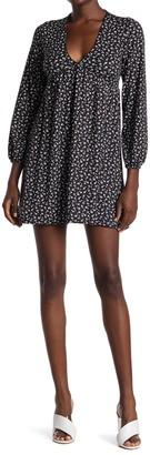 Velvet Torch Floral V-Neck Empire Waist Mini Dress