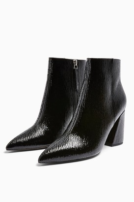 Topshop Womens Hackney Black Pointy Patent Boots - Black