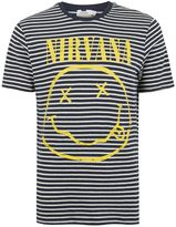 Topman Navy Stripe Nirvana Print T-Shirt