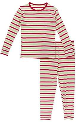 Kickee Pants Kids Long Sleeve Pajama Set (Big Kids) (Candy Cane Stripe) Kid's Pajama Sets