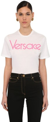 Versace EMBROIDERED 80S LOGO JERSEY T-SHIRT