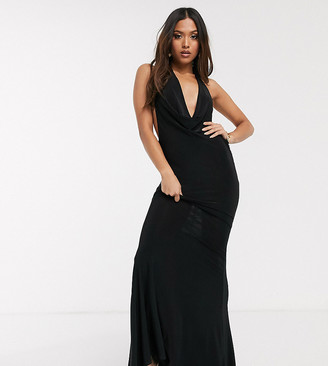 Club L Petite cowl neck low back maxi dress