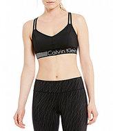 Calvin Klein Stripe Logo Elastic Band Hem Strappy Sports Bra