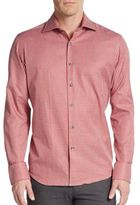 Saks Fifth Avenue Regular-Fit Micro Gingham Cotton Sportshirt