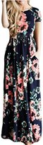 Greenis Summer Women Dress Maxi Floral Printed Cotton Long Sleeves Navy