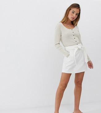 Vero Moda Petite belted denim mini skirt