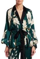 Johanna Ortiz Tie-Waist Floral Silk Jacket