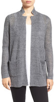 Eileen Fisher Organic Linen Notch Collar Open Front Cardigan