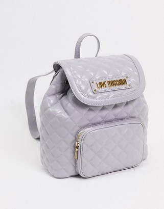 Love Moschino quilted backpack with front pocket in grey