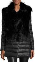 Gorski Fox Fur Stroller w/ Removable Down Skirt and Sleeves, Black