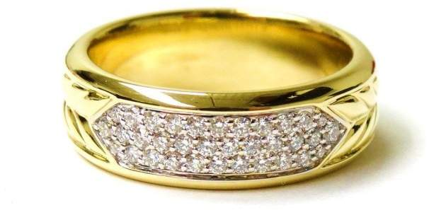 David Yurman 18K Yellow Gold and Diamond Ring Size 10