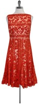 Tadashi Shoji Orange Lace Flared Dress