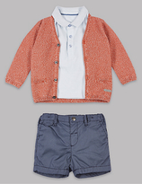 Autograph 3 Piece Pure Cotton Cardigan & Polo T-Shirt with Shorts Outfit