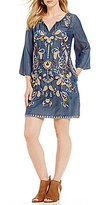 Chelsea & Theodore Tencel Embroidered Dress