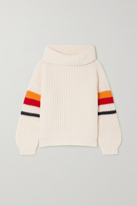 WE NORWEGIANS Striped Wool And Cashmere-blend Turtleneck Sweater - White