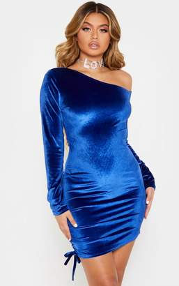 PrettyLittleThing Cobalt Ruched Long Sleeve Bodycon Dress