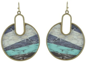 Olivia Welles Tia 14K Yellow Gold Plated Marbleized Inset Disc Drop Earrings