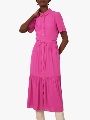 Warehouse Tiered Midi Shirt Dress, Bright Pink