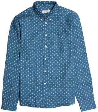 Far Afield Mod Button Down Long Sleeve Shirt - Floral Chambray
