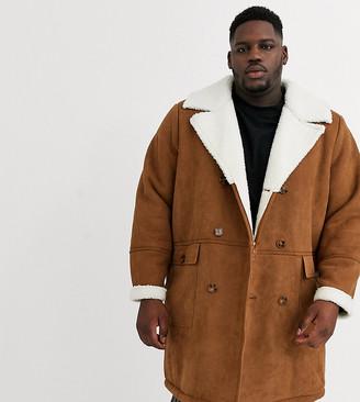 Jacamo longline faux sheepskin overcoat in brown